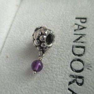 Pandora dangling grape amethyst charm